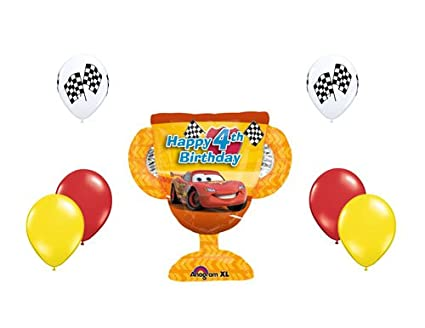 Image Unavailable Not Available For Color Disney Cars Lightning McQueen Happy 4th Birthday Balloon