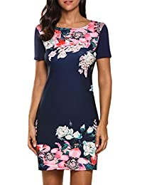 Meaneor Women's Summer Floral Short Sleeve Shift Tunic Dress