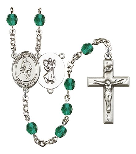 December Birth Month Prayer Bead Rosary with Saint Christopher Wrestling Centerpiece, 19 Inch by Birth Month Rosary