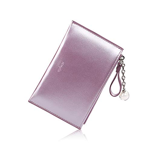 Small Wallets for Women Slim Leather Card Case Holder Cute Change Purse for Girls with ID Window (B-Pearized Purple)