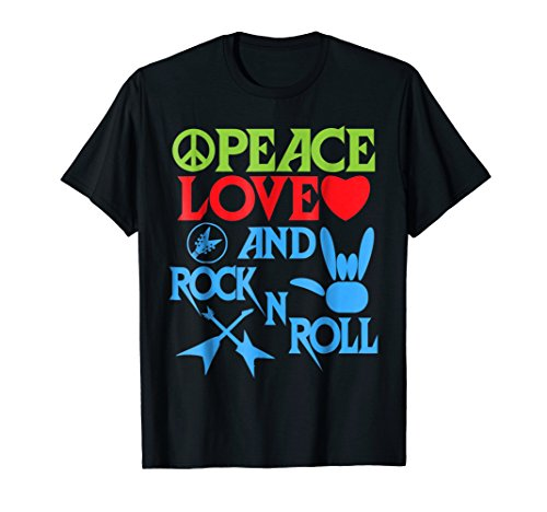 Peace, Love and Rock n Roll Shirt Gift idea for Man & Woman ()