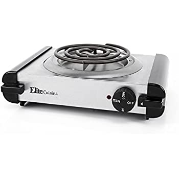 Elite Cuisine Single Coiled Electric Burner Hot Plate, Stainless Steel