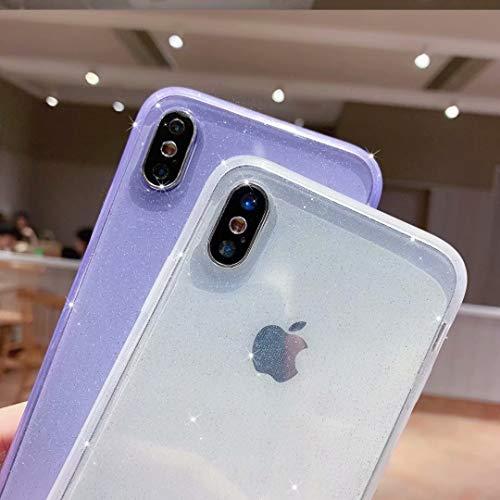 Anynve Compatible with iPhone XR Case Glitter,Clear Sparkle Bling Case [ Anti-Shock Matte Edge Bumper Design] Cute Slim…