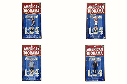 American Diorama Hot Rodders - Set of Four 1/24 Scale Figurines (Diecast Accessories)