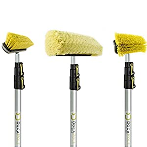 DOCAZOO 5-12 Foot DocaPole Reach Brush Kit with 12′ Extension Pole // Brush Kit Includes 3 Brushes // Soft Bristle Car Wash Brush // Medium Bristle Cleaning Brush // Hard Bristle Deck Brush