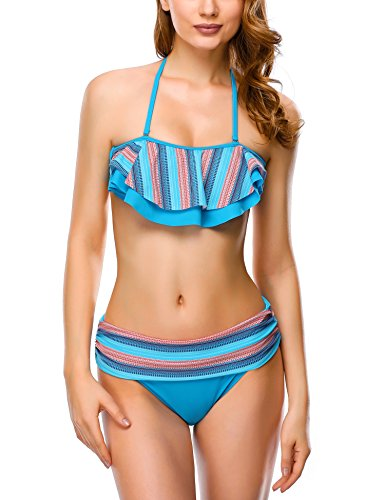DAFUNNA Women Bikini Sets Vintage Style High Waisted Halter Padded 2 Pieces Swimsuits With Rainbow Stripe Ruffles (Front Top Ruffle Halter)