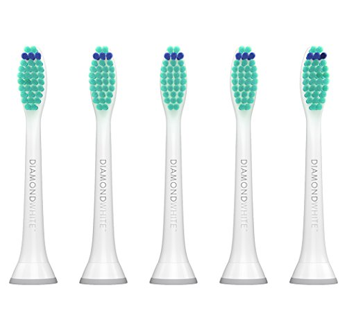 DiamondWhite Replacement Toothbrush Heads for Philips Sonicare, Fits 2 Series, ProResults, FlexCare, Healthy White, Platinum, EasyClean, DiamondClean, Gum Health models (5 ()