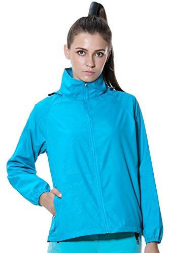 SANKE Mujer impermeable Running Jacket al aire libre Sun pantalla deportiva Hoodies Acid Blue