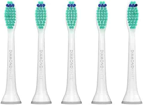 DiamondWhite Replacement Toothbrush Heads for Philips Sonicare, Fits 2 Series, ProResults, FlexCare, Healthy White, Platinum, EasyClean, DiamondClean, Gum Health models (5 Pack)