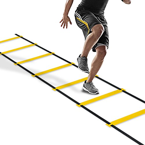 CAMPFENSE Agility Speed Ladder Athletic Football Soccer Basketball Footwork Fitness Exercise Workout Drills Training Running Hurdles With Carry Bag (8 12 20 Rungs, 3 Colors) (Yellow-6m-12rungs)