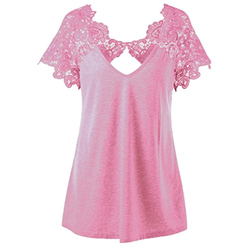 Price comparison product image Todaies Womens Summer Tops Women Fashion V-Neck Tops Plus Size Lace Short Sleeve Trim Cutwork T-Shirt Tops (2XL,  Pink)