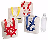 12 NAUTICAL SAILOR ANCHOR tote bags CANVAS NEW Nautical Birthday party Bags