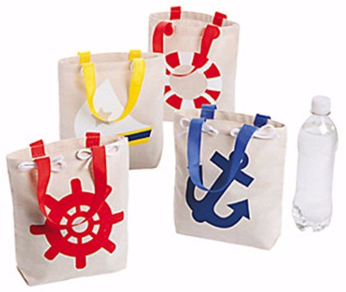 Food Related Costume Ideas (12 NAUTICAL SAILOR ANCHOR tote bags CANVAS NEW Nautical Birthday party Bags)