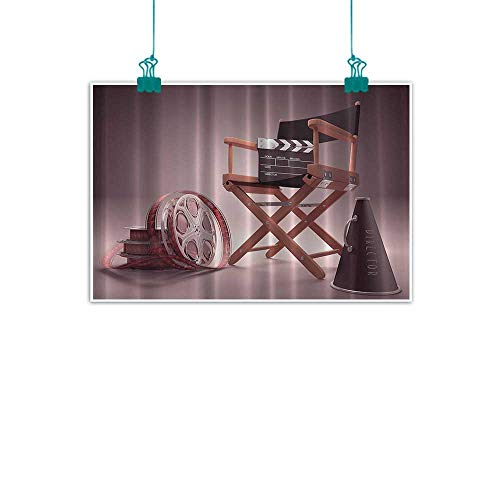 (Directors Chair Seat Movie Lover Film Set Studios Strip Ribbon Storyboard Render Art Digital Print Aubergine Purple Brown Simulation oil painting Decorative painted sofa background wall 35