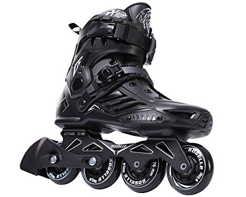 ROSELLE Fitness Professional Inline Roller Skates Women Men Adult Youth Black (Men 10,Women 11) ()