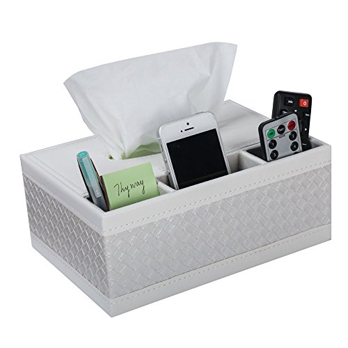 ThyWay Multifunction PU Leather Pen Pencil Remote Control Tissue Box Cover Holder Desk Storage Box Container for Home and Office Use (White) (Pumpkins Faux White)