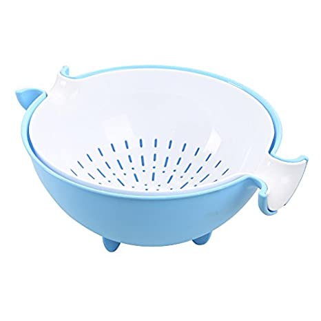 SODIAL Multifunctional Washing Vegetables And Fruit Draining Basket Detachable Double Layer Drain Baskets Storage Salad Bowl-Blue+white