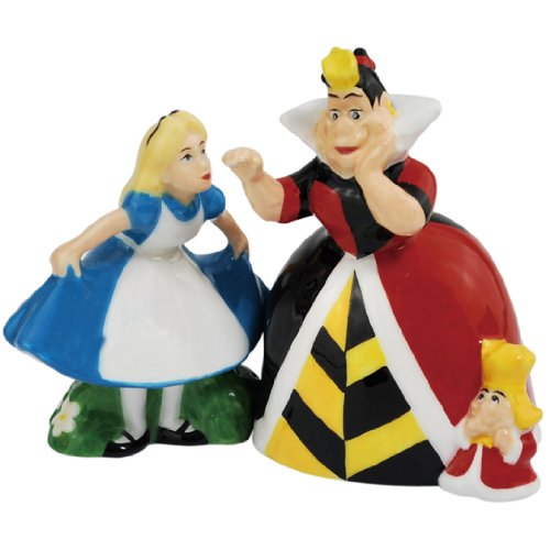 Westland Giftware Magnetic Ceramic Salt and Pepper Shaker Set, 4-Inch, Disney Alice and Queen of Hearts, Set of 2