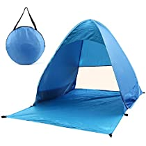 FSDUALWIN Lightweight Beach Tent, 2-3 Person UV Protection Waterproof Portable Folding Automatic Beach Shade Sun Shelter, Pop Up Tents with Carry Bag