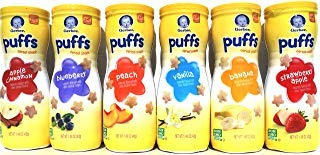 Gerber Graduates Puffs Cereal Snack, Variety Pack, Naturally Flavored with Other Natural Flavors, 1.48 Ounce, 6 Count, ALL FLAVORS by Gerber