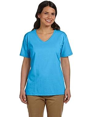 Hanes Ladies V-Neck T-Shirt, Aquatic Blue