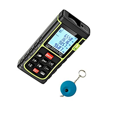 Portable Laser Distance Measurer SNDWAY Mini Handheld Digital Tape Measure Pythagorean Mode,Area& Volume Calculation with Backlit Display