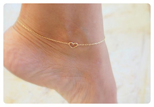 Fremttly Friendship Gift Handmade Dainty Anklet 14K Gold Filled Anklet Heart Bead Chain Foot Jewelry Adjustable-Ank-Heart