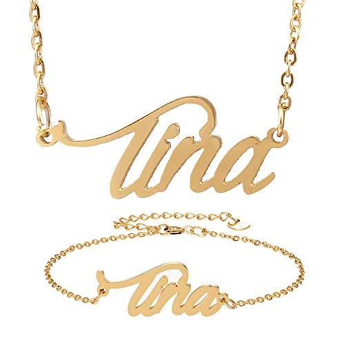 (AIJIAO Personalized Name Necklace + Name Bracelet Sets for Women Nameplate Pendant Gift -Tina Gold Set)