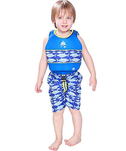 Megartico Boy's Swim Vest Life Jacket Boys Swim Shorts Set Floatation Girls Adjustable Safety Strap - Toddler Learn-to-Swim