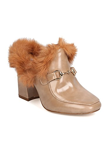 CAPE ROBBIN Women Polished Leatherette Fur Trim Mule - Dressy, Stylish, Party - Block Heel Sandal - GD09 by Khaki (Size: 6.5) (Trim Heel Block)