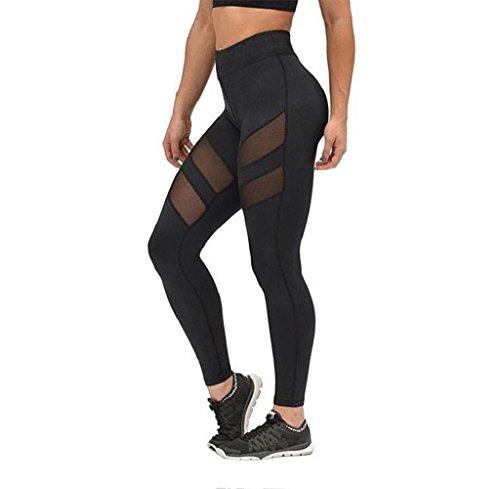 - Gloous Women High Waist Sexy Skinny Leggings of Patchwork Mesh Push Up Yoga Pants (M)