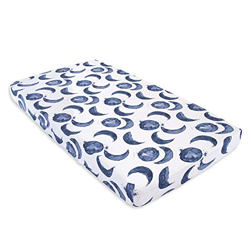 Burt's Bees Baby - Fitted Crib Sheet, Boys & Unisex 100% Organic Cotton Crib Sheet for Standard Crib and Toddler Mattresses (Hello Moon! Pattern)