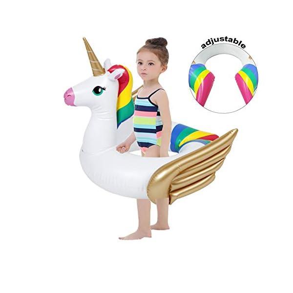 iGeeKid Pool Float for Kids Unicorn Flamingo Swim Floats for Toddlers Age 3-6 Years Inflatable Unicorn Floaties Swimming… 3