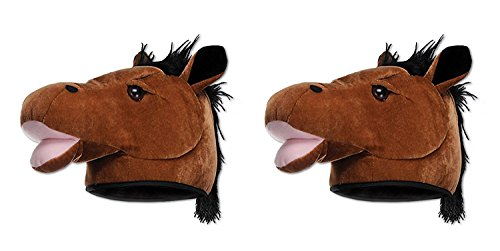 Smiffy's Adult Unisex Horse Hat, Brown (2 Pack) -