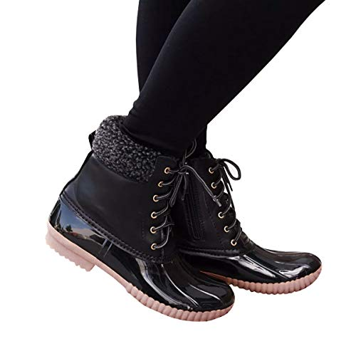 Women's Warm Snow Booties Up Ankle High Cashmere Collar Duck Padded Mud Rubber Rain Boots ()