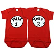 Nursery Decals and More Gender Neutral Baby Bodysuits, Includes 2 Bodysuits, 0-3 Month Twin 1 Twin 2