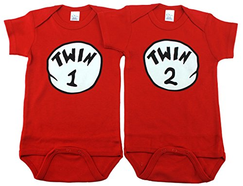 Unisex Bodysuits for Twins, Includes 2 Bodysuits, 6-12 Month Twin 1 Twin 2 (1 Onesie)