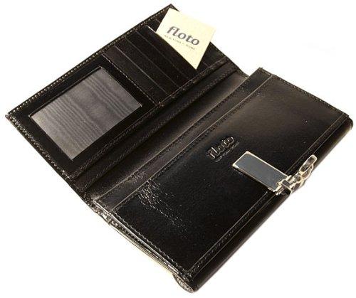 Floto Firenze Full Grain Leather Checkbook Clutch Wallet in Black