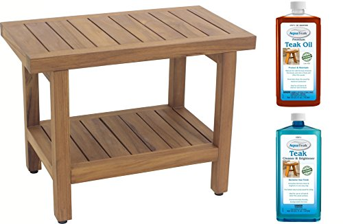 Stainless Steel Seats Shower (Spa Teak Shower Bench - 24 , Bench and Care Kit)