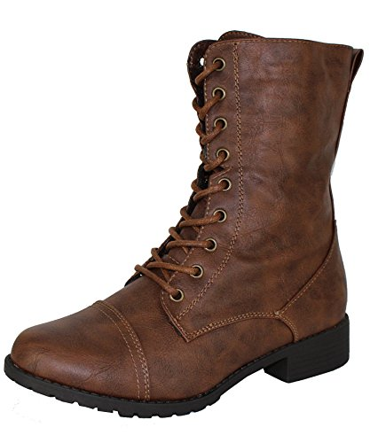 Forever Link Womens Mango Round Toe Military Lace up Knit Ankle Cuff Low Heel Combat Boots Brown 10 B(M) US
