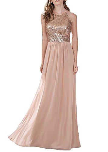 (Halter Sleeveless Rose Gold Prom Evening Dresses Long Bridesmaid Gown Style B Size 2)