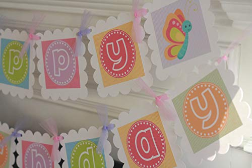 Happy Birthday Girly Rainbow Pastel Outdoor Creature Butterfly, Dragonfly, Flower, Caterpillar Theme Banner - Party Pack Specials & Matching Items Available - Favor Tags, Cupcake Toppers -