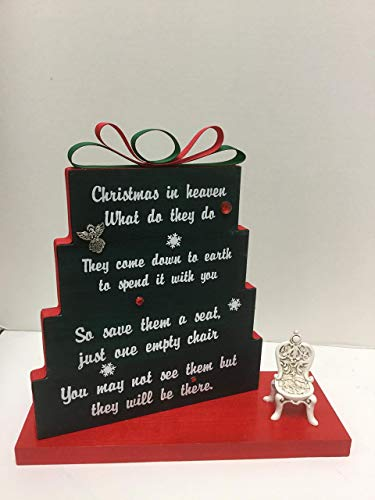 Christmas In Heaven What Do They Do.Christmas In Heaven Save Them A Seat One Empty Chair Christmas Green With Red And Green Ribbon Red Rhinestones And Snowflakes With Antique Chair