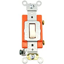 Leviton 1221-2T 20-Amp, 120/277-Volt, Toggle Single-Pole AC Quiet Switch, Extra Heavy Duty Spec Grade, Self Grounding, Light Almond