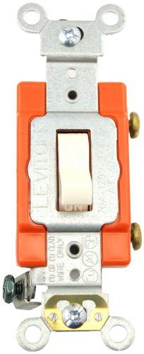 Leviton 1221-2T 20-Amp, 120/277-Volt, Toggle Single-Pole AC Quiet Switch, Extra Heavy Duty Spec Grade, Self Grounding, Light Almond -