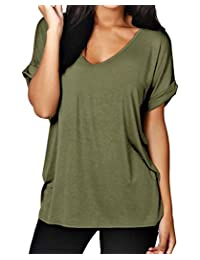 Amstt Womens Baggy Fit V Neck Top Ladies Short Cap Sleeve Batwing Casual T Shirt