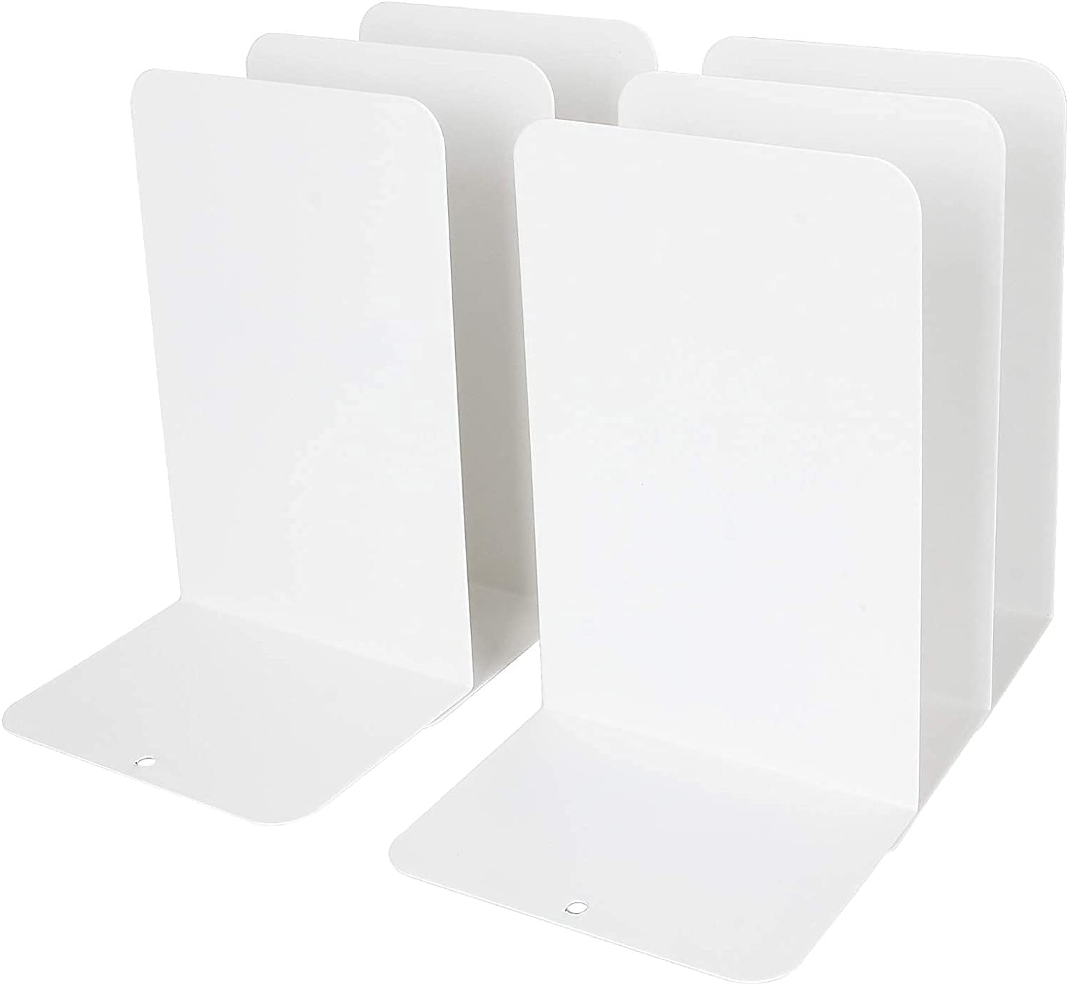 Acrux7 White Metal Bookends 8x4x5.3 Inch, Heavy Duty Premium Book Ends for Shelves, Nonskid Book Holders for Books Notebooks Files Magazines DVDs - Great for Office, Home, School, Dorm