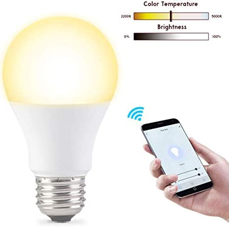 Vestaiot Smart Light Bulb, WiFi Led Smart Bulbs Compatible with Alexa Google Home, Cool Warm White Light Tunable Smart Bulb 2200K-5000K E26 60W 800LM Alexa Light Bulbs No Hub Required Bulb-A19