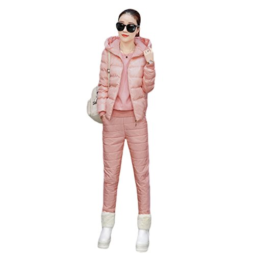 Zhiyuanan Women Winter Fashion 3 In 1 Bodywarmer Sets Hooded Padded Gilet+ Pullover+Down Pants Chic Thicken Warm Puffer Vest Jacket Filled Trousers Jumper Outerwear Pink