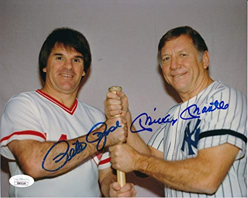 Photo Rose 8x10 Pete Autographed - Mickey Mantle & Pete Rose Dual-Signed/Autographed 8x10 Photo JSA 142488